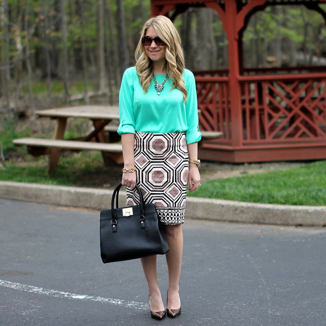 LOFT geometric print skirt green blouse outfit idea