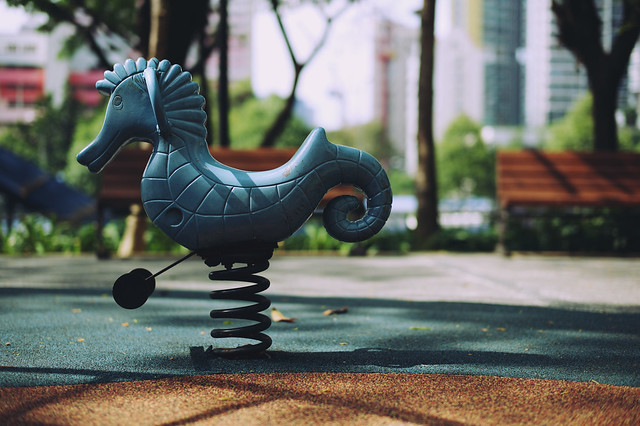 childhood memory - playground spring horse