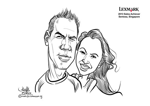 digital couple caricatures for Lexmark - Serina Ismail