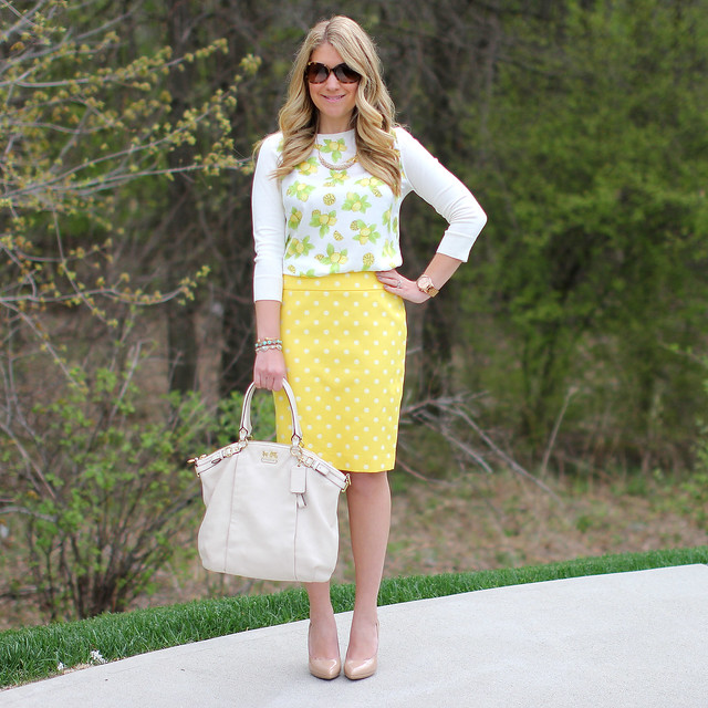 Lemon Print Shirt Lemons and Polka Dots Work Outfit