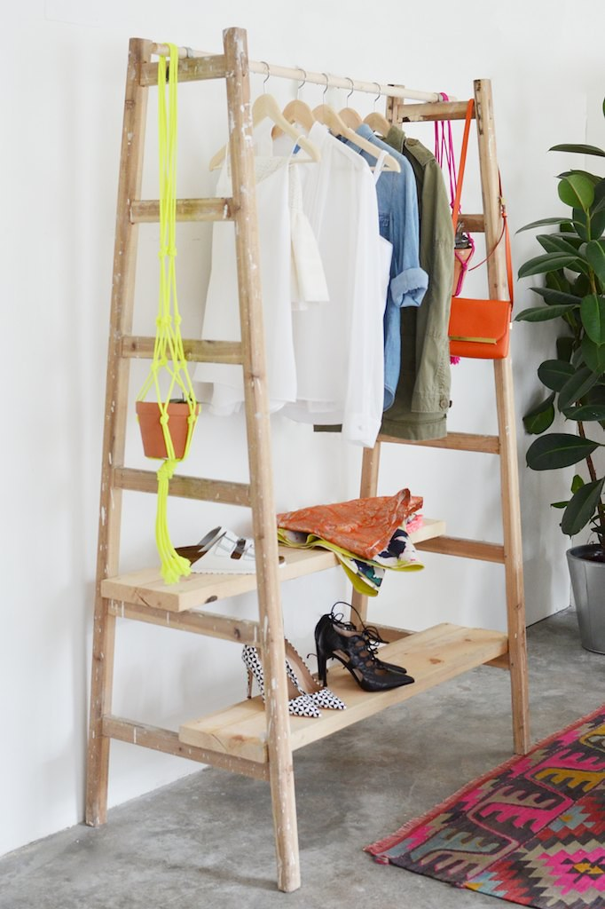 Make a wardrobe out of a ladder www.apairandasparediy.com
