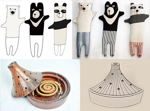Vinka與Liz也自己設計產品,委託其合作的公平貿易組織生產。圖為店內銷售NO.1的動物眼枕,下圖為火山蚊香座。繭裹子提供