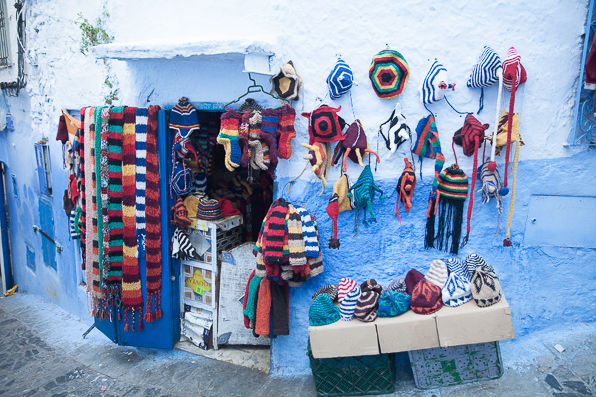 Knitted hats and scavres at Chefchaouen Medina, Morocco