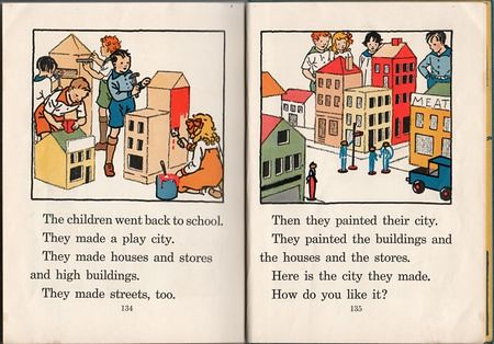 Page about children building play cities from a reading instruction book