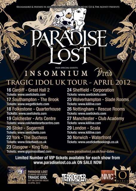 Paradise lost uk tour tragic idol review metalgigs metal gigs gig listings