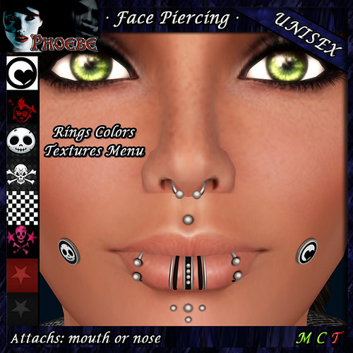*P* Unisex Face Piercings ~ Serie Z1 ~ Ring Colors & Plug Textures