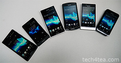 The six new Android smartphones debuting in SE Asia in Q3 2012: Sony Xperia ion, go, acro S, neo L, miro, and tipo.