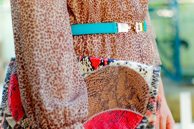 Sea Green belt, Mango clutch, thrift leopard dress, Go Jane sea green wedges, denise katipunera, Filipina Style Blogger, Mommy Style,