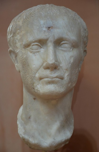 Marble portrait head of Julius Caesar, 1st quarter of 1st century AD, provenance unknown, Archaeological Museum of Ancient Corinth, Greece