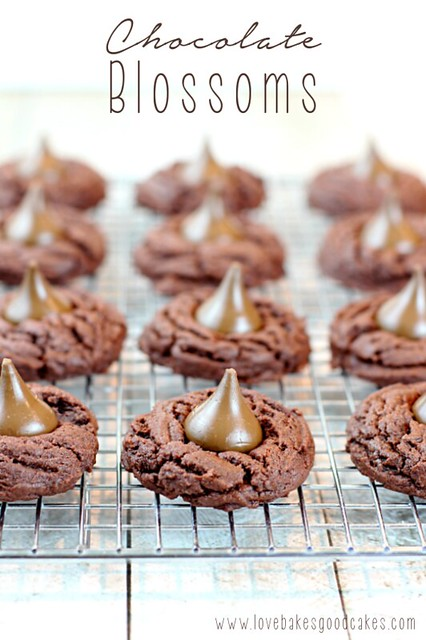 Chocolate Blossoms on a cooling rack.
