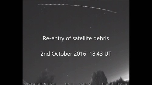 Satellite debris re-entering