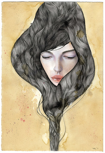 "Reverie. 10""x14"". Mixed Media (Graphite, Colored Pencil, Watercolor, Acrylic) on Tea-stained Paper. © 2011"