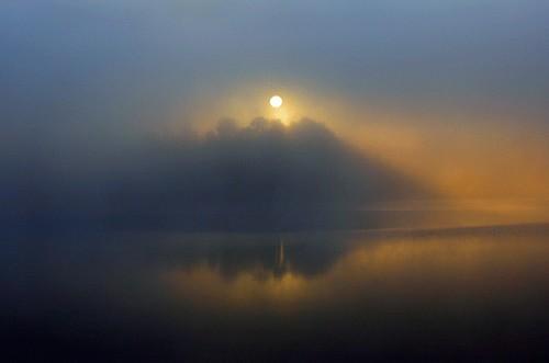 morning mist water colors fog sunrise