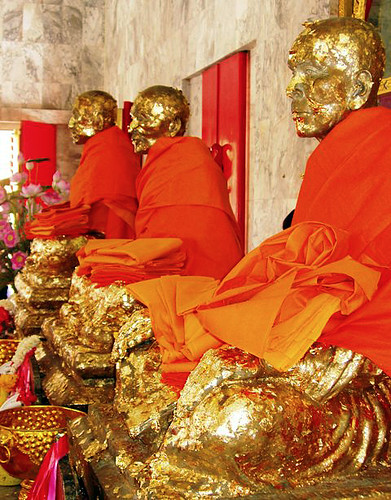Statues of monks at Chalong Temple