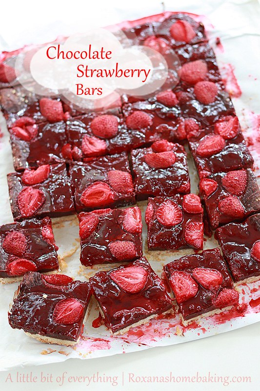 Chocolate fudge roasted strawberry cookie bars - shortbread cookie topped with rich chocolate fudge, tangy strawberry jam and tart roasted strawberries.