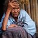 Small photo of Village grandma wearing ikat