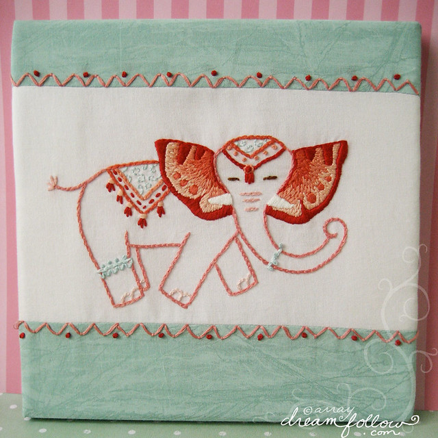 circus elephant embroidery art