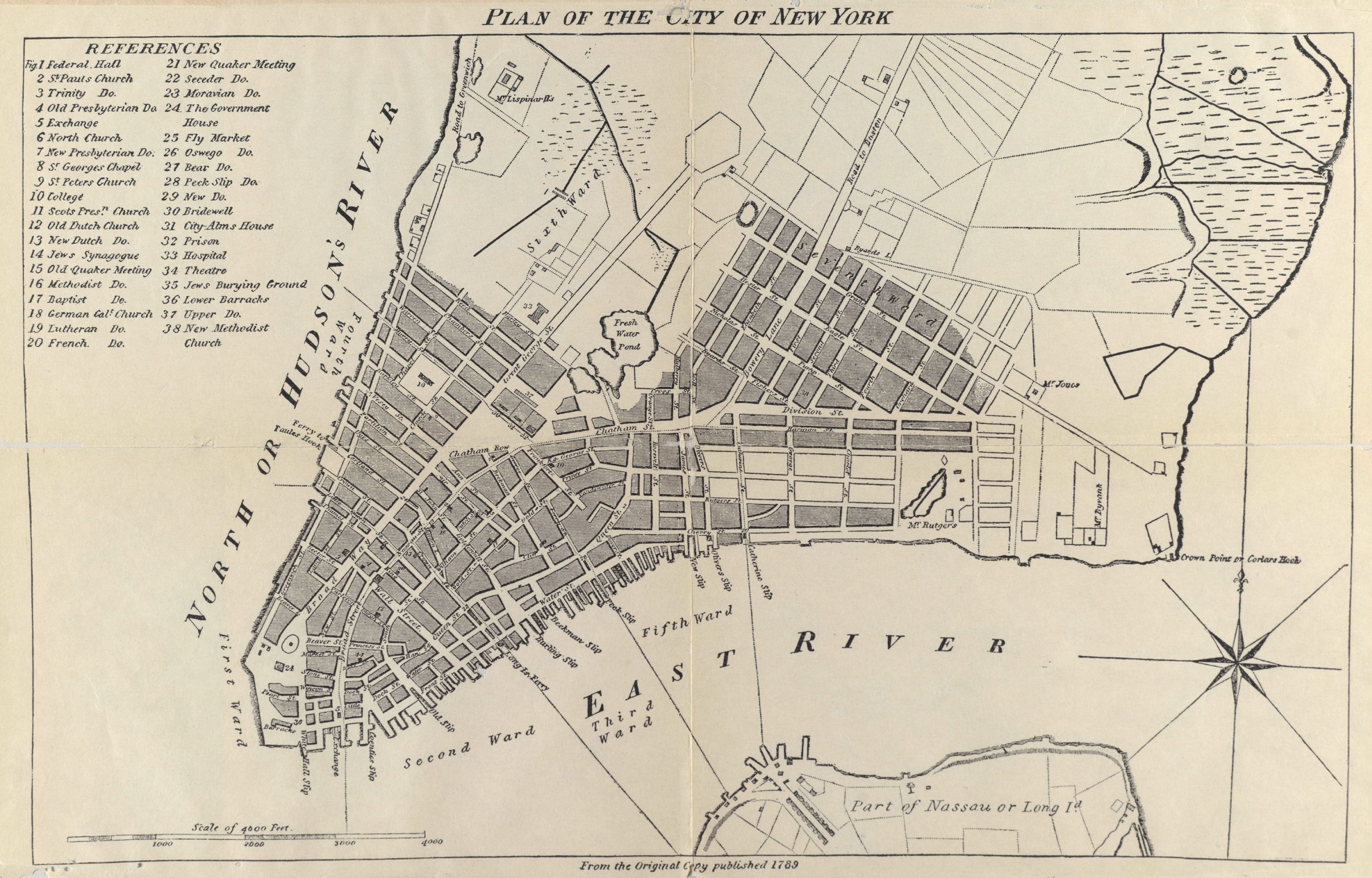 1789 Plan Of New York City  Pub  1905