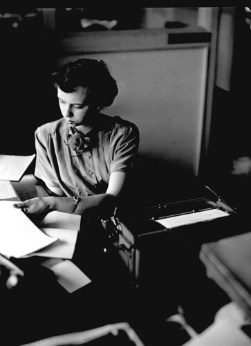 Midvale Company employee Elaine Regen, Payroll Department, main office, December 1951