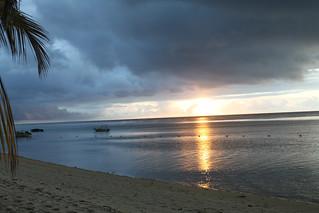 Sun sets over Indian Ocean