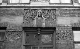 Arkitekt Christies gate 4 B, detalj fra inngangsparti (1978)