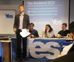 Accession Number: spa.2065.4  Yes Scotland GCU (Glasgow Caledonian University).   Photographs of  University's student-led 'Yes' campaign's first public event, 'The case for Scottish independence'.  The event was held on Thursday 10th April 2014.  Speakers included Michael Gray (Business for Scotlan...