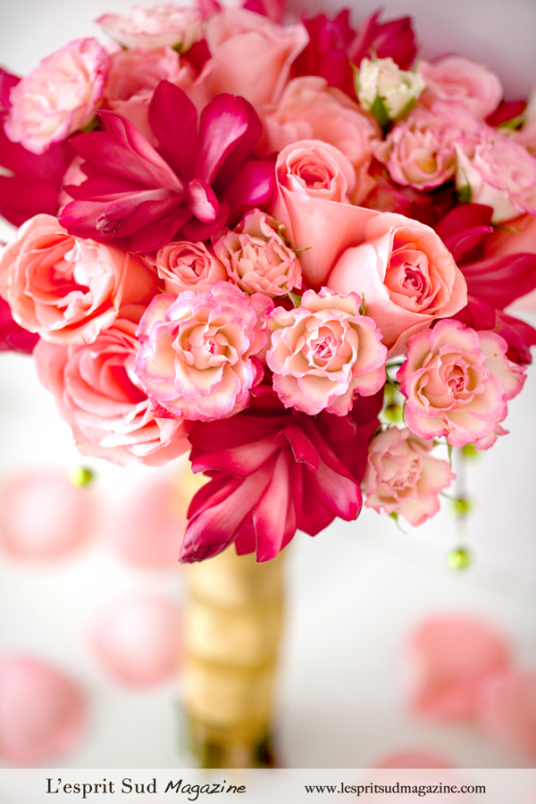 Pink wedding bouquet with a holiday flair