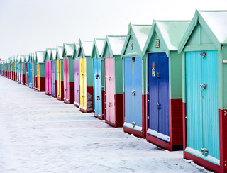 Hove beach huts in snow