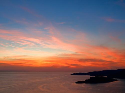 sunset red sky cloud montenegro svstefan