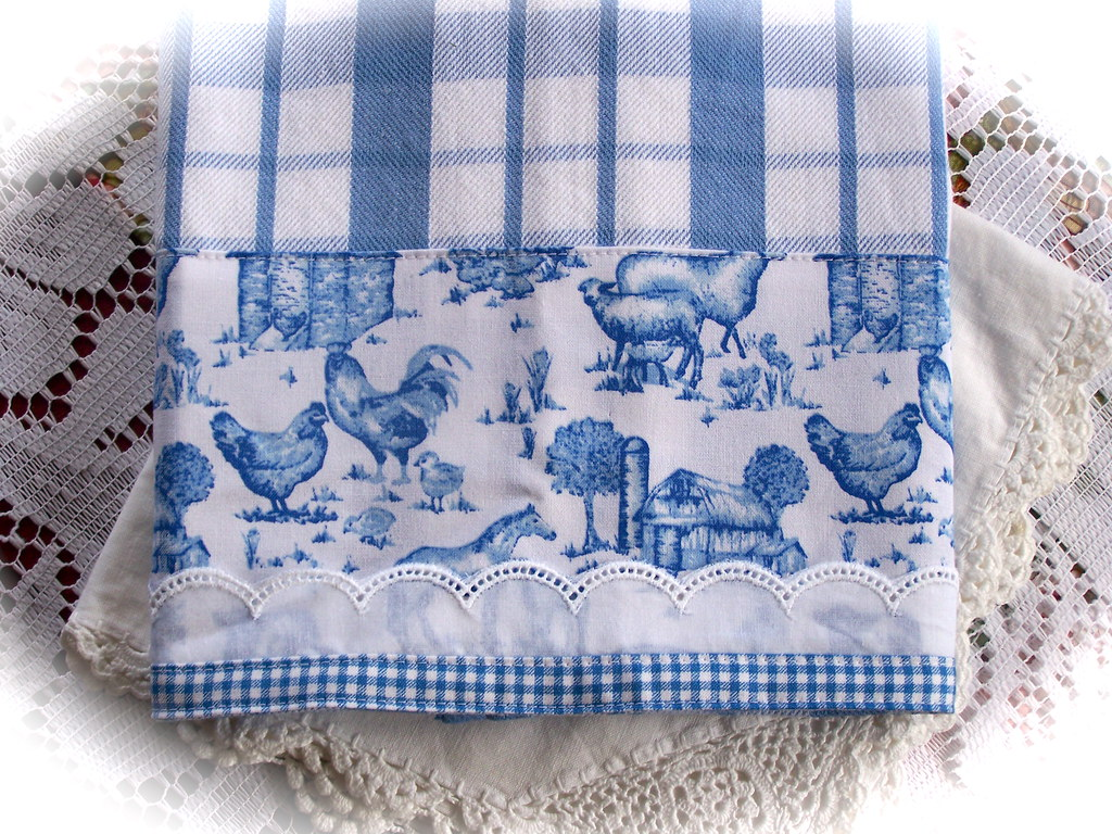 Tea towels decorated for country kitchen  | Decorate a tea t… | Flickr