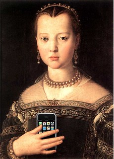 Portrait of Maria de Medici with her iPhone, after Agnolo Bronzino