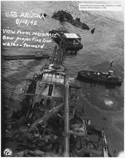 USS Arizona; View from main mast. Bow projecting from water- forward (FCP), 05/18/1942