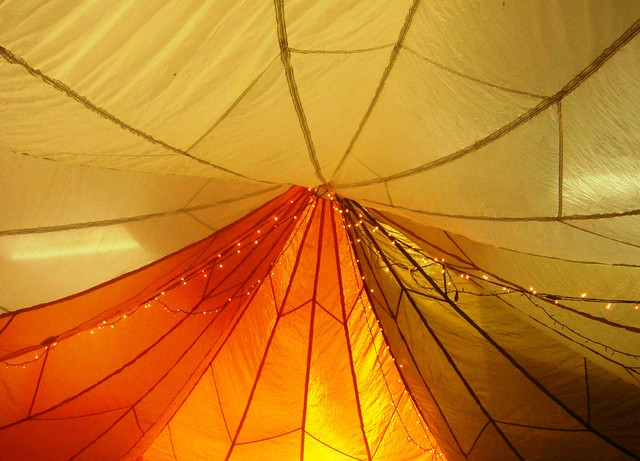tent hanging from a school ceiling_2 from Flickr via Wylio