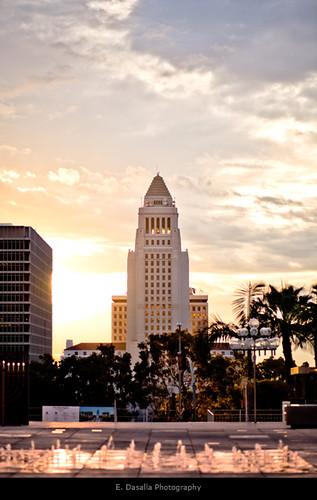 california cloud sun brick fountain sunrise la losangeles cool nice downtown awesome emmanuel warmtone dasalla