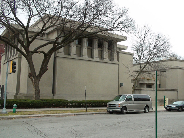 unity temple exterior designed in 1906 by frank lloyd