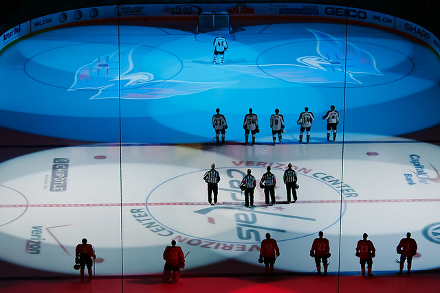 Colors on Ice During National Anthem