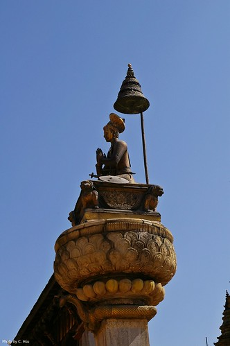 Bhaktapur - Durbar Square - King Bupathindra Malla's Column(布帕辛卓.馬拉國王雕像柱)