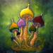 Mushroom Stroganoff food painting for the vegetarian recipes cookbook by Australian artist Fiona Morgan