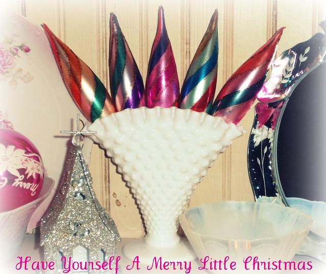 Vintage icicle ornaments in milkglass hobnail fan vase