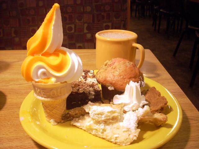 sherbet + vanilla yogurt, muffin, chocolate decadence, chocolate ...