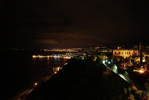 Night view from Piazza IX Aprile, Taormina