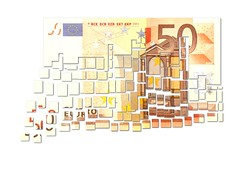 Cut Fifty Euro Note - Floating Away in Small Pieces - €
