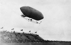 aircraft, airship, blimp, rigid airship, zeppelin, vehicle, monochrome photography, monochrome, black-and-white,