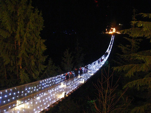 Capilano Suspension Bridge during Canyon Lights