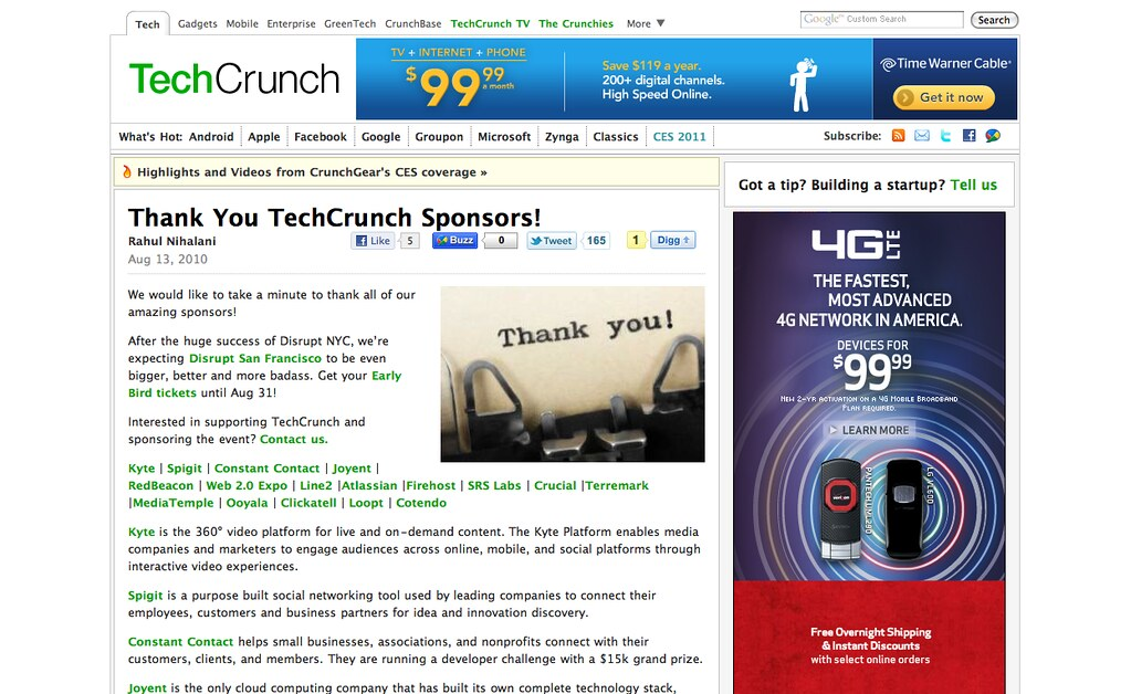 TechCrunch sponsors in a single post
