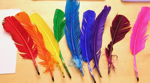 Rainbow of Handmade Quills