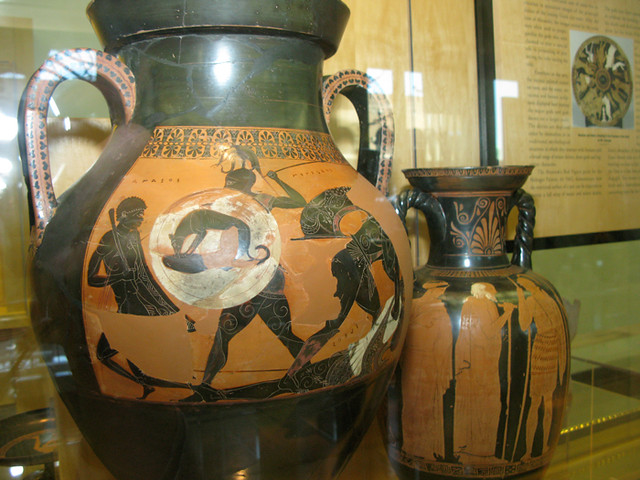 Attic Black Figure Amphora Depicting A Scene From The