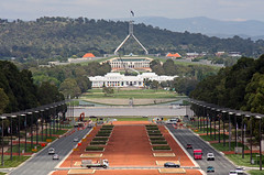 Parliament houses from the War Memorial