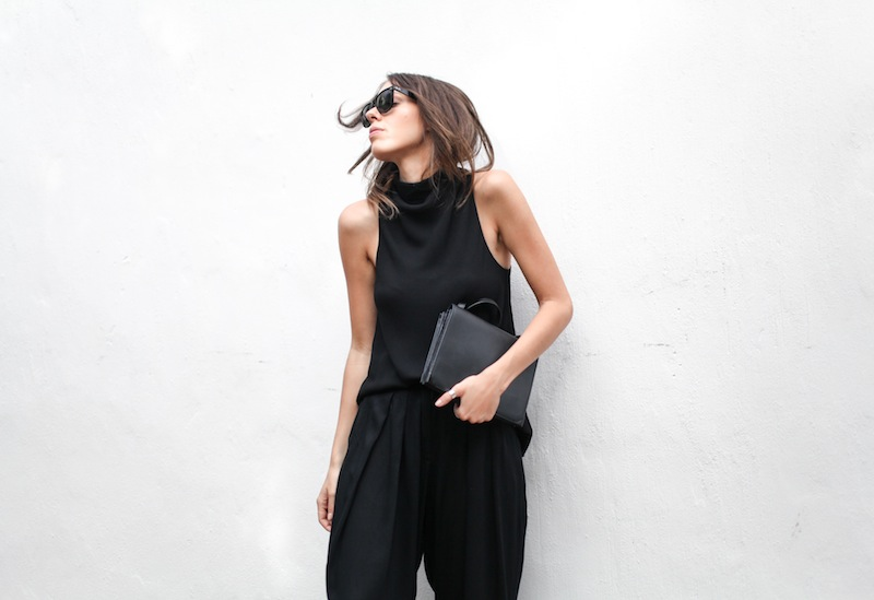 modern legacy blog street style culottes crop wide leg pants Camilla and Marc high neck assent funnel top all black outfit Alexander Wang bag Prisma envelope clutch slide sandals spring summer (12 of 16)