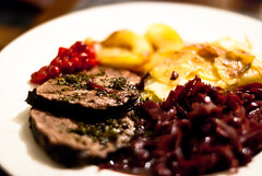 Wild boar, gratin dauphinois, red cabbage, apple &…